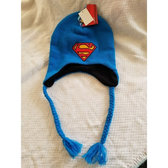 kids one size blue Superman winter hat brand new d7acf49ebe2
